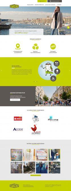 Page d'accueil de Sakeko développée par Reactic sous WordPress